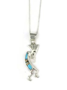 Turquoise, Jet, Opal Inlay Kokopelli Pendant