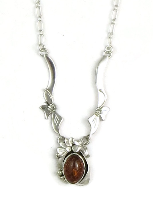 b454f231e Sterling Silver Amber Necklace by Les Baker Jewelry (NK3310) - Southwest  Silver Gallery