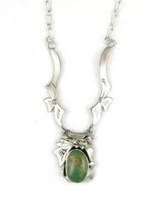 Sterling Silver Pilot Mountain Turquoise Necklace by Les Baker Jewelry