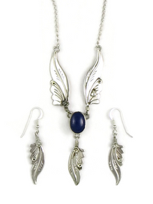 Sterling Silver Lapis Feather Necklace Set by Les Baker Jewelry