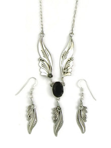 Sterling Silver Faceted Onyx Feather Necklace Set by Les Baker Jewelry