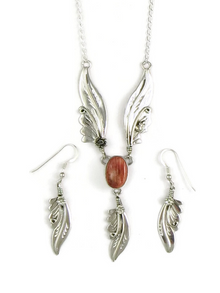 Spiny Oyster Shell Silver Feather Necklace Set by Les Baker Jewelry