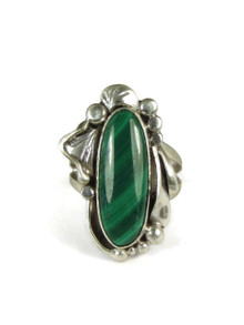 Silver Malachite Ring Size 7 1/2 by Les Baker Jewelry