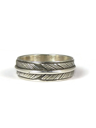 Sterling Silver Feather Band Ring Size 9 1/2 by Lena Platero