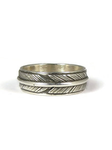 Sterling Silver Feather Band Ring Size 9 by Lena Platero