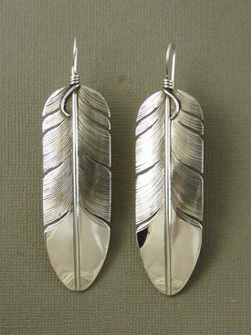 """Large Sterling Silver Feather Earrings 3 1/2"""" by Lena Platero"""