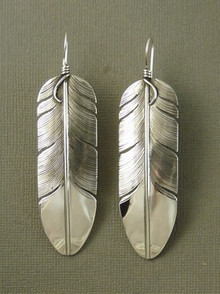 "Large Sterling Silver Feather Earrings 3 1/2"" by Lena Platero"