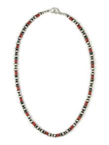 """Mediterranean Coral Silver Bead Necklace 20"""""""