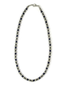"""Lapis Silver Bead Necklace 20"""""""