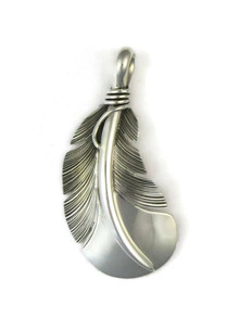 Sterling Silver Curved Feather Pendant by Lena Platero