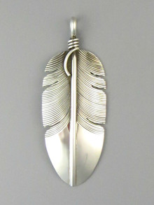 Sterling Silver Feather Pendant by Lena Platero (PD4838)