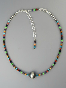 "Multi Gemstone Silver Bead Necklace 13"" with Extender Chain (NK3351)"
