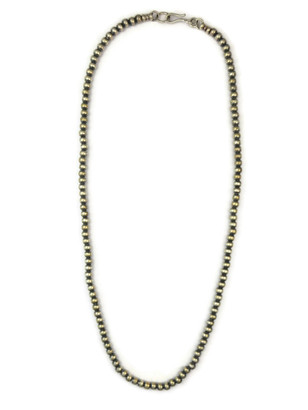 """Antiqued 4 mm Silver Bead Necklace 18"""""""