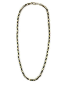 """Antiqued Sterling Silver 4 mm Bead Necklace 16"""""""