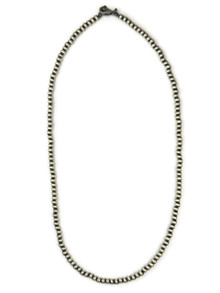 "Antiqued Sterling Silver 4 mm Silver Bead Necklace 20"" with Lobster Clasp"