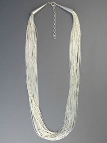 "30 Strand Liquid Silver Necklace 30"" with Extender Chain"