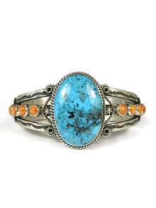 Ithaca Peak Kingman Turquoise & Spiny Oyster Shell Bracelet by Derrick Gordon