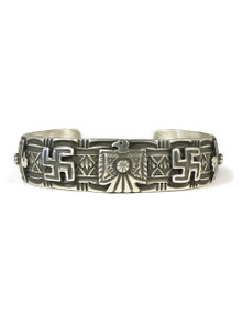 Silver Thunderbird & Whirling Log Bracelet by Darrell Cadman