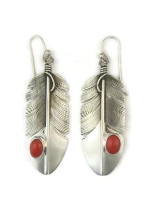 Sterling Silver Mediterranean Coral Earrings by Lena Platero