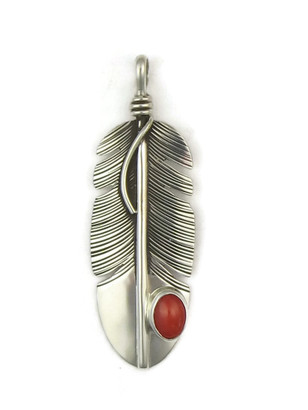 Sterling Silver Mediterranean Coral Feather Pendant by Lena Platero