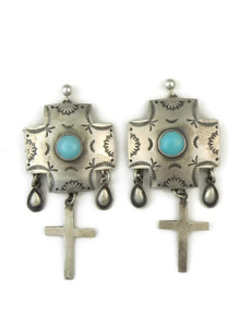 Turquoise & Silver Cross Charm Earrings by Joe Piaso Sr