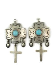Turquoise & Silver Cross Charm Earrings by Joe Piaso Sr
