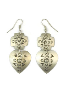 Antiqued Sterling Silver Heart & Cross Dangle Earrings