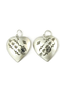 Hand Stamped Silver Heart Earrings by Joe Piaso Sr.