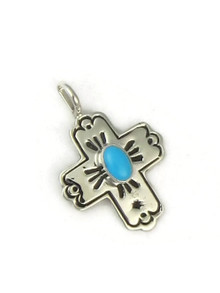 Sleeping Beauty Turquoise Cross Charm Pendant