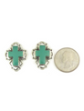 Hand Stamped Silver Turquoise Cross Earrings