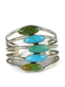 Silver Turquoise Arrow Design Bracelet by Tommy Thompson