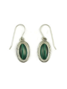Silver Malachite Dangle Earrings by Sampson Jake