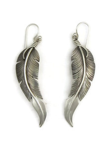 "Sterling Silver Feather Earrings  2 1/2""by Lena Platero"