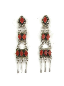 Mediterranean Coral Dangle Earrings by Zuni Priscilla Chavez