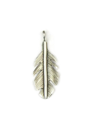 Broad Silver Feather Pendant by Lena Platero
