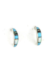 Turquoise, Jet & Opal Inlay Hoop Earrings