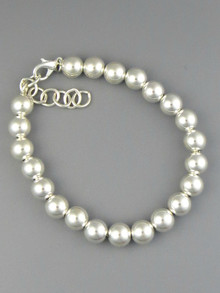 Sterling Silver 8 mm Bead Bracelet with Extender