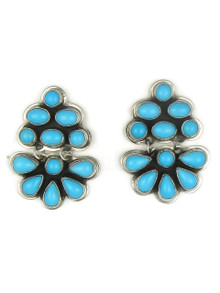 Sleeping Beauty Turquoise Cluster Earrings by Geneva Apachito