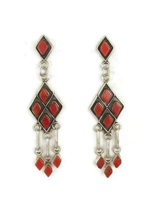 Mediterranean Coral Dangle Earrings by Zuni, Priscilla Chavez