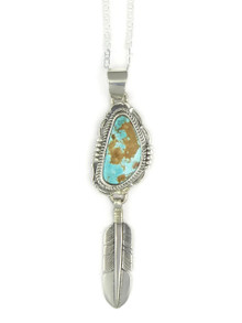 Brown Web Royston Turquoise Silver Feather Pendant by Bennie Ration