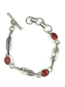 Red Spiny Oyster Shell Feather Link Bracelet