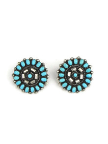 Turquoise Petit Point Cluster Clip On Earrings - Zuni