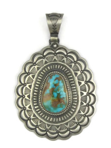 Large Hand Stamped Pilot Mountain Turquoise Pendant by Darrell Cadman