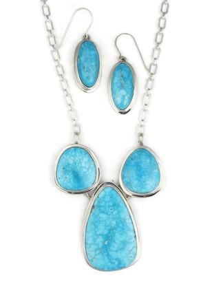 Kingman Turquoise Necklace Set by Lyle Piaso (NK3381)