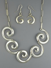 Sterling Silver Swirl Necklace Set by Mildred Parkhurst