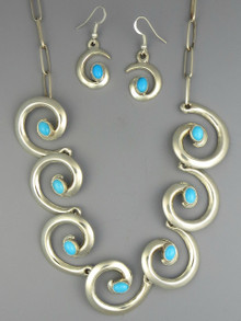 Sleeping Beauty Turquoise Swirl Necklace Set by Mildred Parkhurst