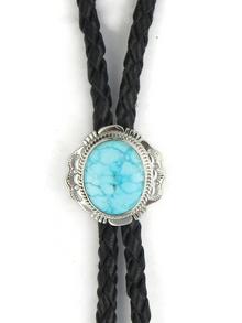 Kingman Turquoise Bolo Tie by John Nelson