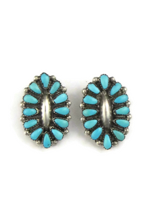 Turquoise Petit Point Clip On Earrings by Zuni Mary Chavez