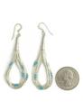 "5 Strand Liquid Silver Turquoise Heishi Earrings 2 1/2"""