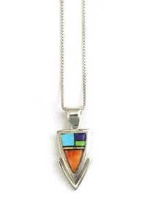 Multi Gemstone Inlay Arrowhead Pendant by Ervin Hoskie